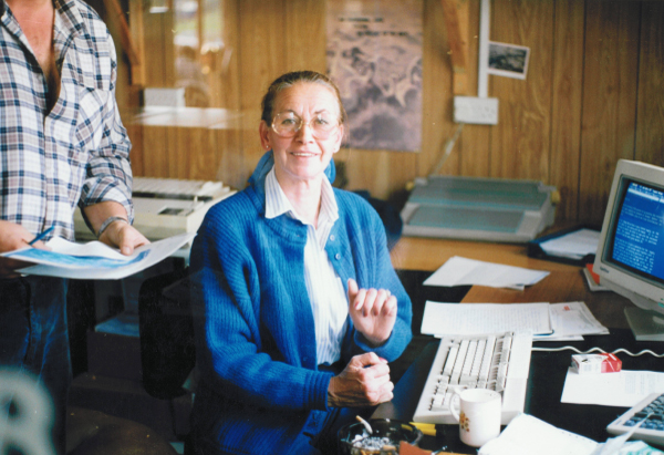 Jane Ainsworth in the office Farndon Marina