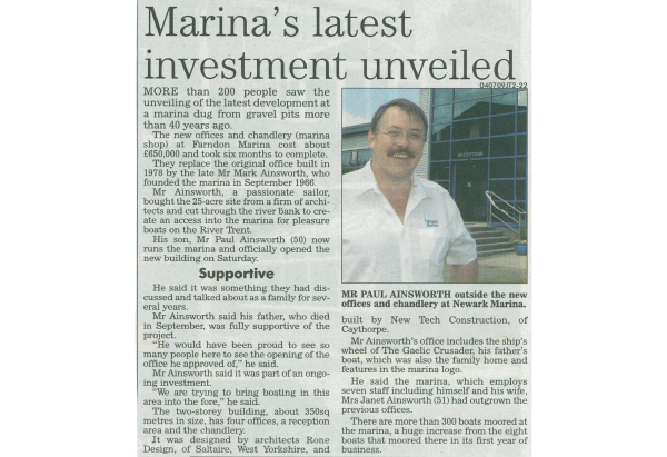 Newspaper clipping Farndon Marina