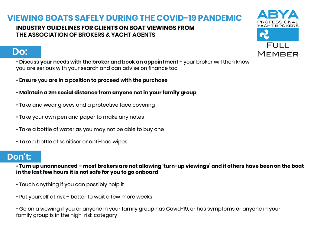 ABYA Guide to Viewing boats safely during the Covid-19 Pandemic
